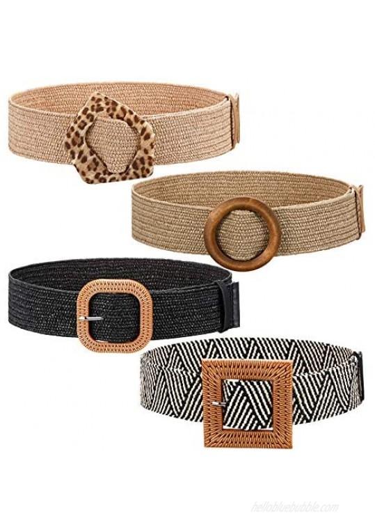 4 Pieces Straw Woven Elastic Waist Belt Stretch Wide Waist Belt Bohemian Dress Braided Waist Belt with Buckle for Women Girls