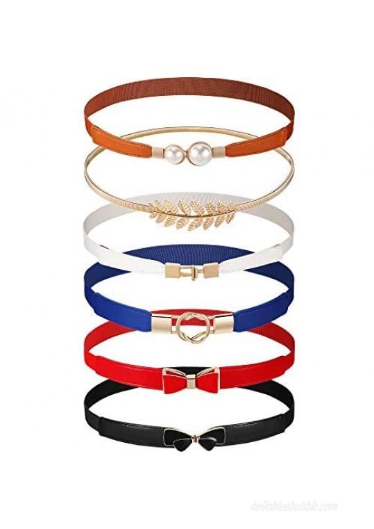 6 Pieces Women Skinny Waist Belts Stretch Waist Buckle Belts Thin Elastic Waist Cinch Belts Retro Faux Leather Waist Band with Metal Buckle for Women Girls