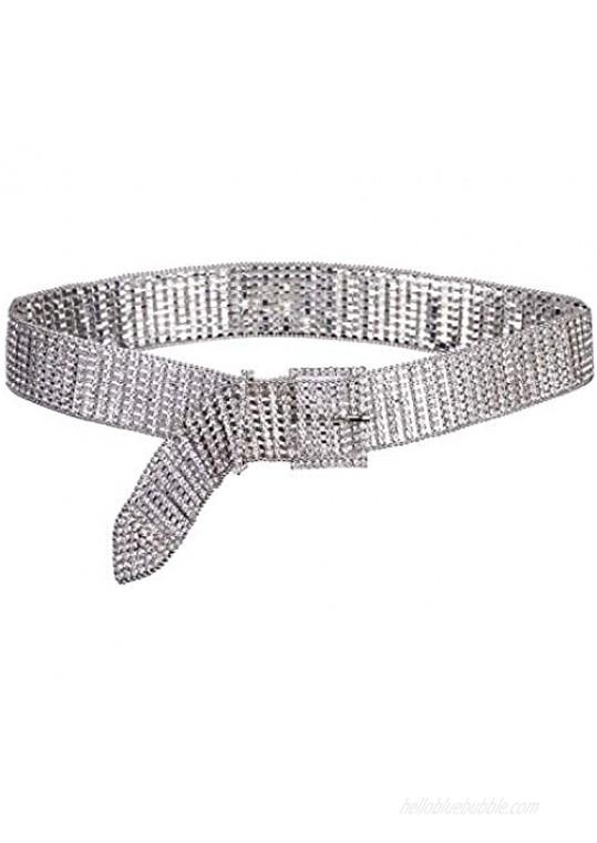 Dubulle Women Belt Rhinestone Crystal Pearl Belts Bridesmaid Bridal Sashes Silver Shiny Beaded Waistband