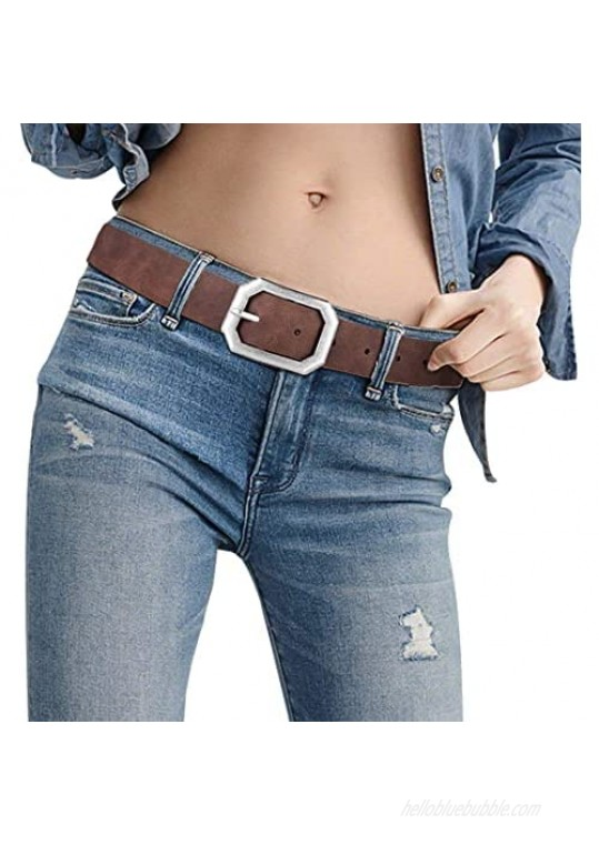 Reversible Leather Belts for Women with 1.25 Wide Solid Brown Western Waist Sash Waistband Men Silver belt Buckle