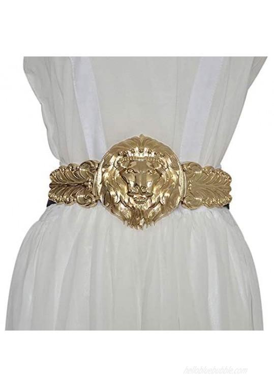 VITOGIFTRIA Golden Lion Head Women Girdle Metal Round Buckle Elastic Exaggeration Belt for Women's Black Waistband Gold Elastic Waist Seal