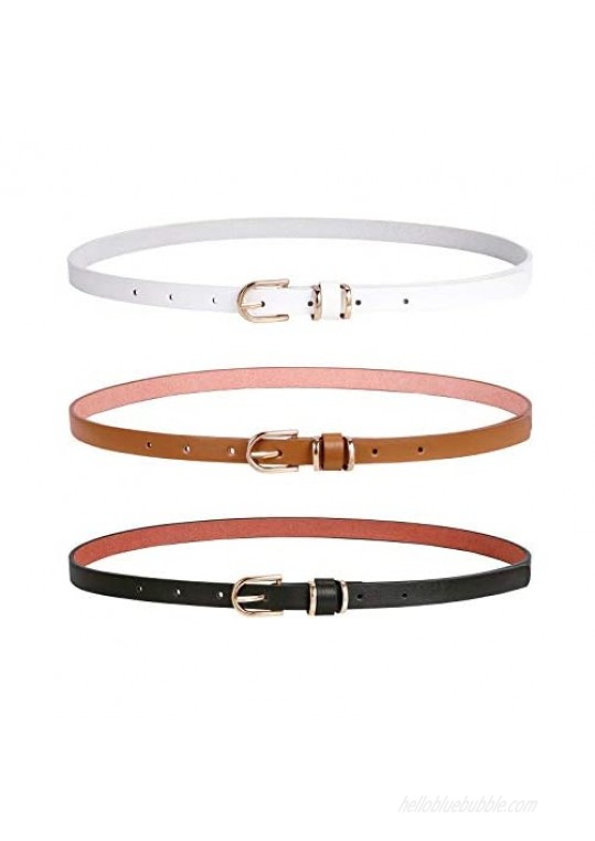 Women Skinny PU Leather Belt for Dress Jeans Girls Thin Waist Belt with Gold Alloy Buckle