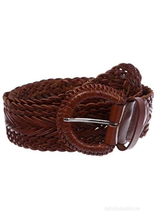 """Women's 2"""" Wide Braided Woven Round Leather Belt"""