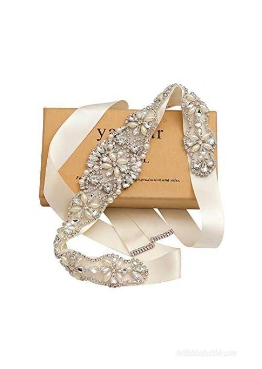 Yanstar Handmade Rhinestone Bridal Belt Wedding Sash Belt for Bridesmaid Dress