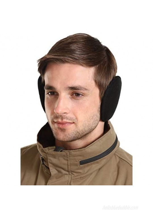 Ear Muffs for Men & Women - Winter Ear Warmers Behind the Head Style - Soft Fleece Black Earmuffs/Covers for Cold Weather