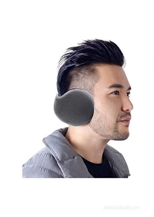 Yokawe Winter Ear Muffs Warm Gray Fuzzy Reflective Edge Earmuffs Soft Foldable Faux Fur Outdoor Ear Warmers for Women and Men