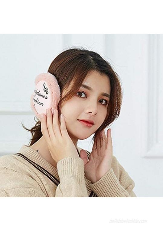 Yokawe Winter Ear Muffs Warm Khaki Furry Fleece Earmuffs Soft Foldable Outdoor Ear Warmers for Women and Men