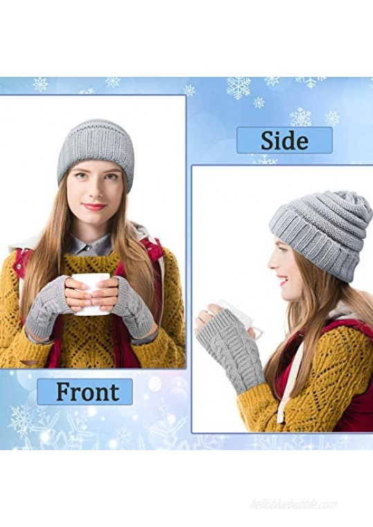 2 Pieces Women Warm Slouchy Beanie Hats with 2 Pairs Cable Knit Fingerless Gloves Thumbhole Arm Warmers