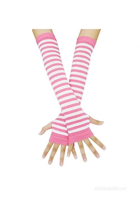 Arm Warmers Winter Fingerless Gloves Knit Warmers with Thumb Hole for Women Girls Pink