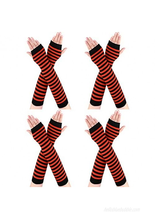 Bememo 4 Pairs Punk Gothic Long Fingerless Gloves Halloween Knitted Arm Warmer Elbow Length Gloves Thumb Hole Gloves