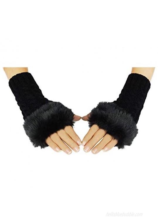 Bienvenu Knit Fingerless Gloves for Women  Arm Warmers with Faux Fur  Winter Fingerless Mittens