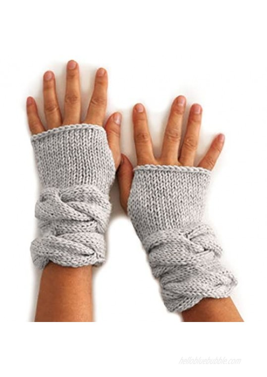 Chunky Cable Texting Mittens - 100% Baby Alpaca Wool - Dye Free - Wrist Warmer Fingerless Gloves