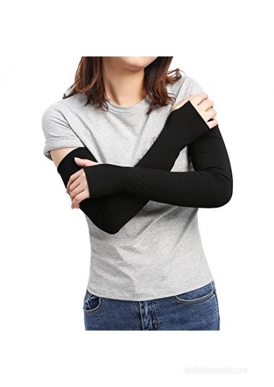 SILKZON Women's Outdoor Sun Block Stretchy Long Arm Warmer Sleeve Fingerless Driving Gloves
