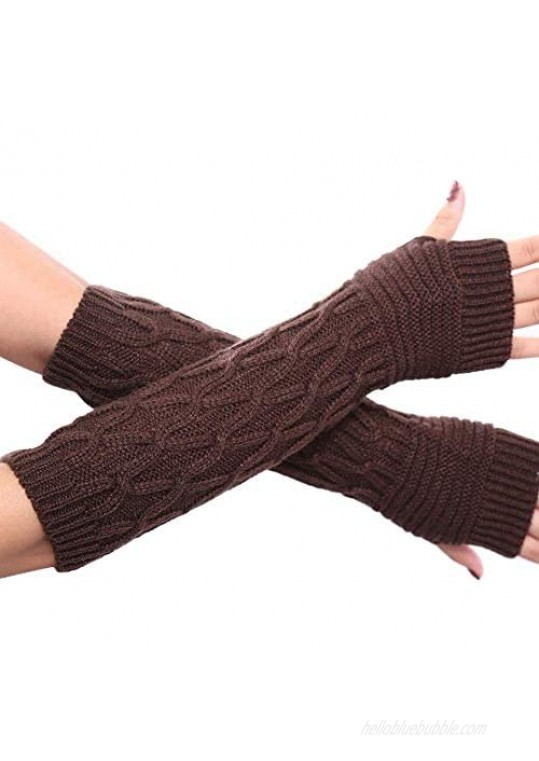 Urieo Winter Arms Warmers Coffee Acrylic Fibres Skull Knit Warm Wrist Thumb Hole Gloves Mittens Cozy Long Fingerless Gloves for Women and Girls