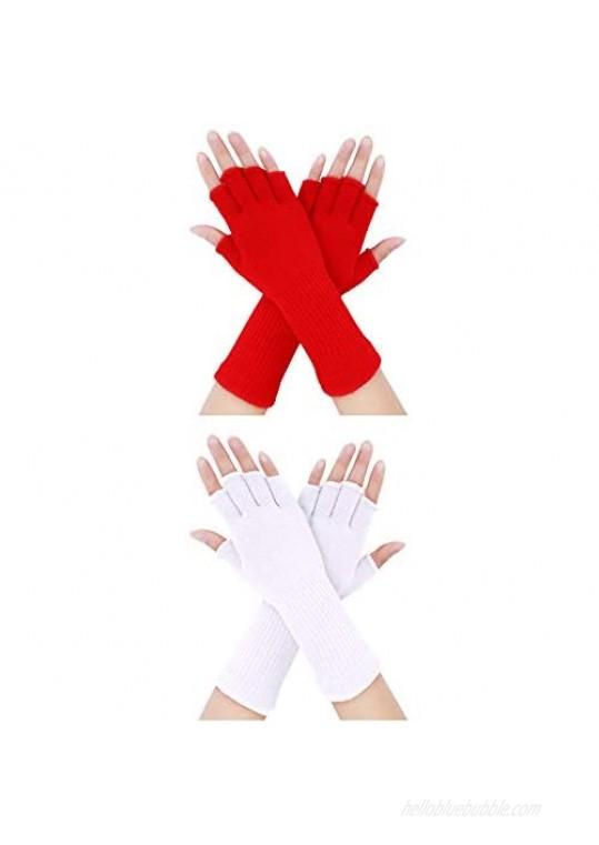 2 Pairs Unisex Fingerless Gloves Half Finger Stretchy Knit Gloves Lengthen Wrist Mittens Winter Warm Gloves