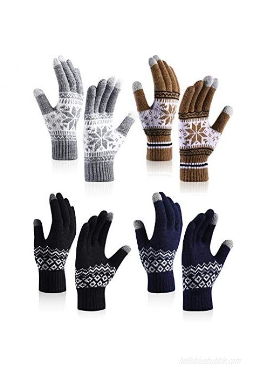 4 Pairs Touchscreen Gloves Winter Warm Gloves Thick Knitted Gloves for Women Adult