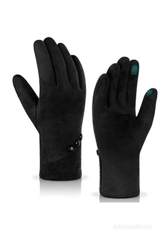 Achiou Winter Touchscreen Gloves Soft Comfortable Women Thermal Elastic Stretch Texting for Party Traveling Running