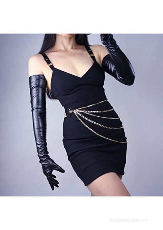 DooWay New Soft Women Long Leather Dress Gloves 28 Inches Faux Leather Fashion Colors for Evening Party Costume Cosplay