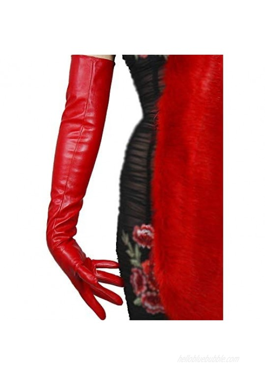 DooWay Women Long Leather Opera Gloves Evening Party Costume Faux Leather Cosplay Dress Accessories 24 inches