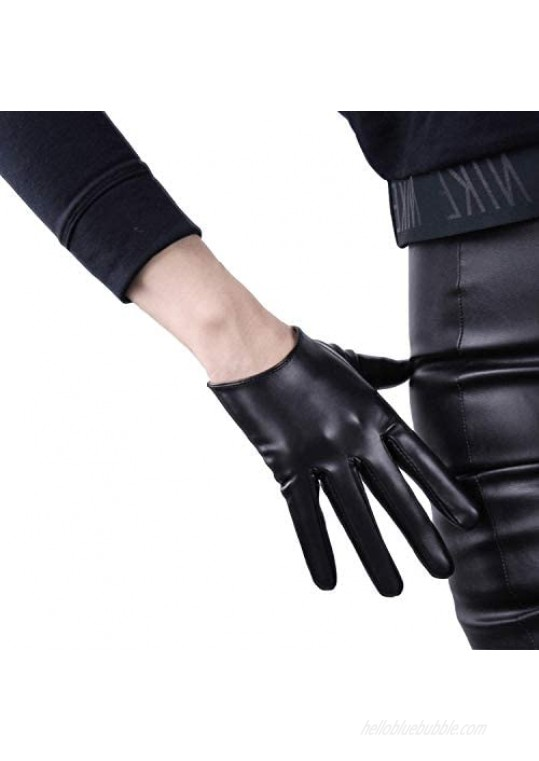 DooWay Women's Black Short Leather Gloves Touchscreen Faux Lambskin Leather Soft Cool Handmade Unlined for Evening Costume Party Dress 16cm