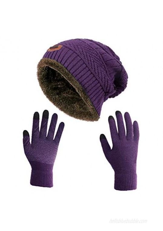 HINDAWI Winter Slouchy Beanie Gloves for Women Knit Hats Skull Caps Touch Screen Mittens