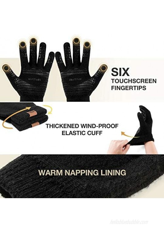 Winter Knit Gloves For Men And Women Touch Screen Texting Soft Warm Thermal Fleece Lining Gloves With Anti-Slip Silicone Gel
