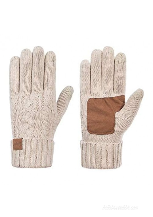 Winter Wool Warm Gloves For Women Anti-Slip Knit Touchscreen Thermal Cuff Driving Gloves With Thick Fleece Lining