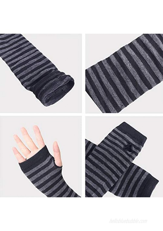 unisex Long Fingerless Gloves for Women Arm Warmers Knit Thumbhole Stretchy Gloves