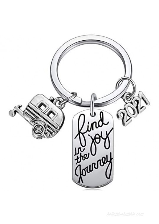 2021 Find Joy in The Journey Keychain Happy Camper RV Trailer Key Chain Enjoy Retirement Keyring for Boss and Coworker Gift