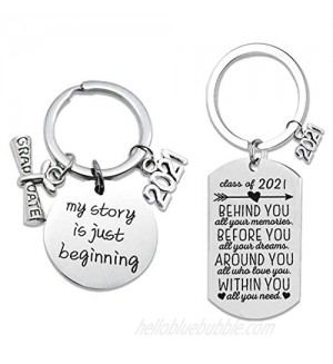 2Pcs Graduation Gifts Keychain for Class of 2021  Round and Rectangle Inspirational Gift Key Ring for Women Man Masters Degree Girls Boys Daughter Son Graduates from Dad Mom