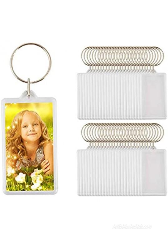 """50pcs Size:2.51""""x1.33"""" Custom Personalised Insert Photo Acrylic Blank Keyring Keychain Wholesale"""