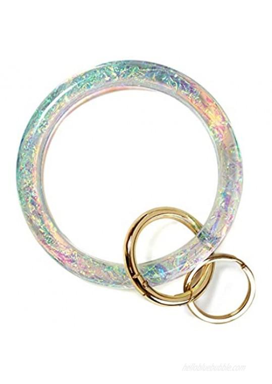 Bangle Key Ring Bracelet for Women  Wristlet Keychain Bracelets Holographic Circle Keyring for Wrist  Gift for Women Girls