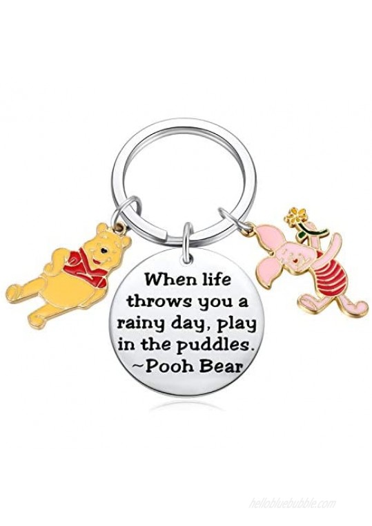 Pooh Bear Piglet Keychain Decor Party Suppiles - When Life Throws You a Rainy Day Play in The Puddles Inspirational Gifts