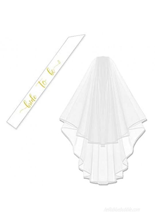 Bachelorette White Double Ribbon Edge Center Cascade Bridal Wedding Veil with Comb& Bride to Be Satin Sash (White Veil+White Sash)