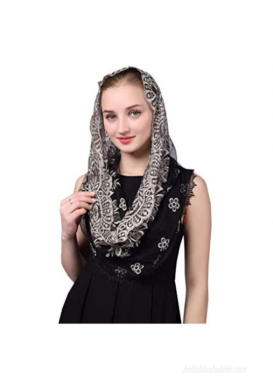 Czyl Accessories Black and Gold Embroidered Infinity Veil Traditional Vintage Inspired Wrap Veil Mantilla Measuring about 44X24 inche