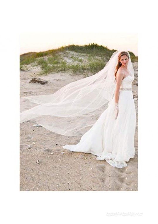 """Heread Bride Wedding Veil 118"""" Long Cathedral Length Bridal Tulle Hair Accessoies with Comb and Cute Edge (118"""" Width  Ivory)"""