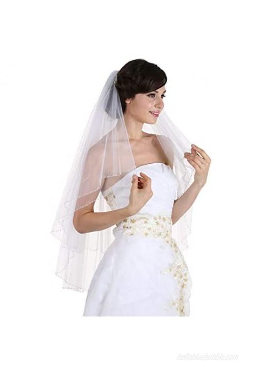 SAMKY 2T 2 Tier Handmade Clear Crystal Beaded Edge Bridal Wedding Veil