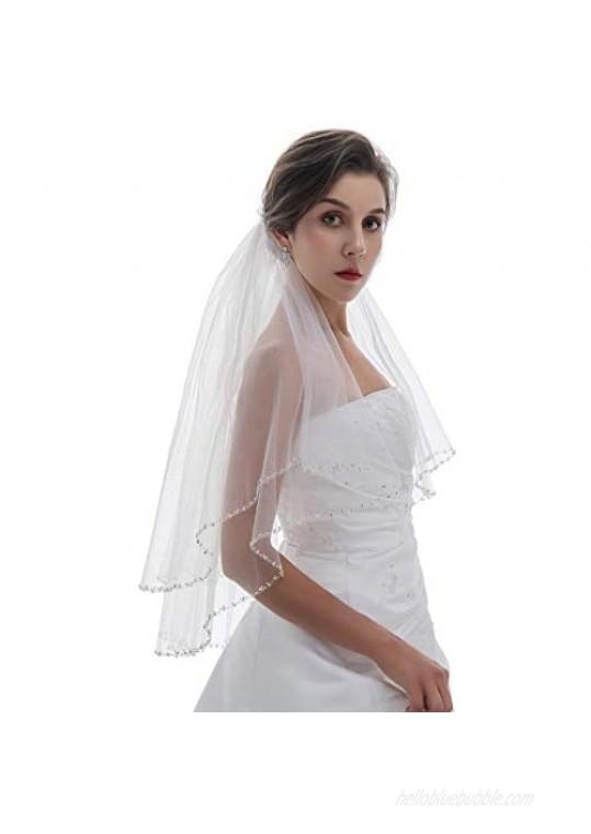 SAMKY 2T 2 Tier Silver Pearl Crystal Beaded Edge Bridal Veil
