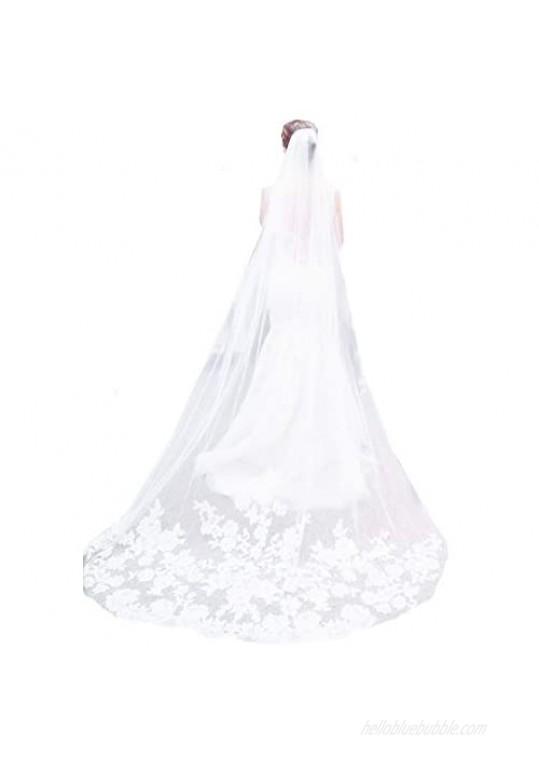 U-Hotmi Bridal Veil Lace Applique Edge Cathedral Veil Long Party Wedding Veil 3 Meter with Comb
