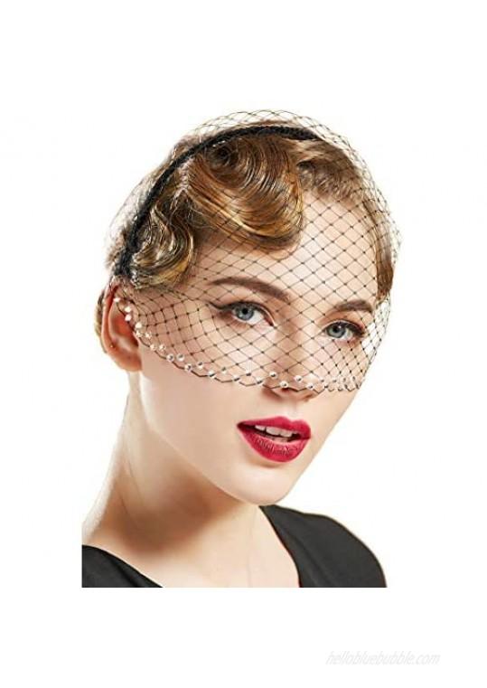 BABEYOND Veil Fascinator Headband Vintage Veil Headband Tea Party Fascinator Veil for Women Bridal Wedding Veil for Women