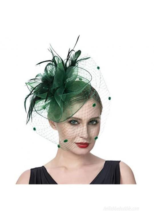 Litter Star Fashion Fascinators for Women Pillbox Cocktail Tea Patry Headband Headwaer Hat Kentucky Derby Wedding (SY01-Dark Green)