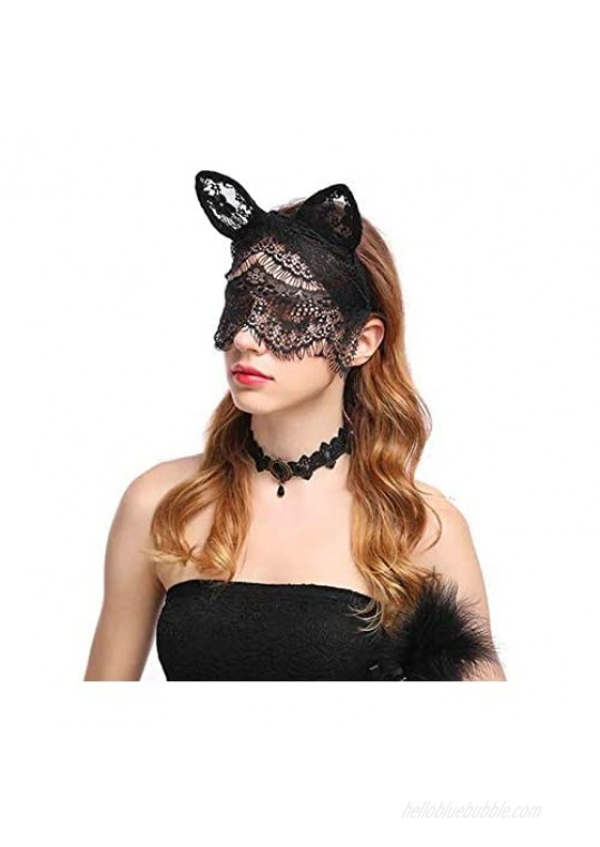 Olbye Black Lace Face Veil Fascinator Hat Veil Mesh Headband Rabbit Ears Lace Face Covering Accessories Nightclub for Masquerade Nightclub Halloween