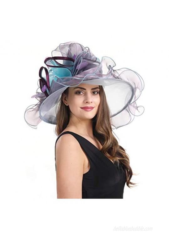 SAFERIN Derby Hat Wide Brim Flounce Cocktail Tea Party Bridal Dress Church Hat(SH-4 Purple