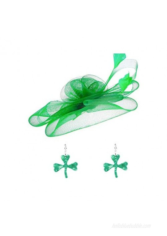 St Patricks Day Fascinators Hair Clip Hat and Green Shamrock Earrings Set St Patricks Day Party Decorations for Women