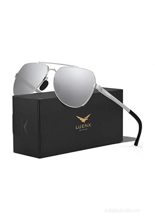 LUENX Aviator Sunglasses for Men Women Polarized New Shades Large Metal Frame - UV 400 Protection