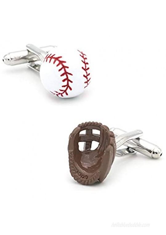 3D Baseball Cufflinks Gloves and Ball Cuff Links Sports Gemelos