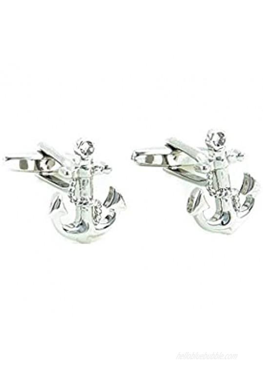 MRCUFF Anchor w/Chain Pair of Cufflinks & Tie Bar Clip in Presentation Gift Box and Polishing Cloth