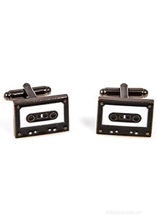 MRCUFF DJ Music Headphones Turntables Cassette Boom Box 4 Pairs Cufflinks in a Presentation Gift Box & Polishing Cloth