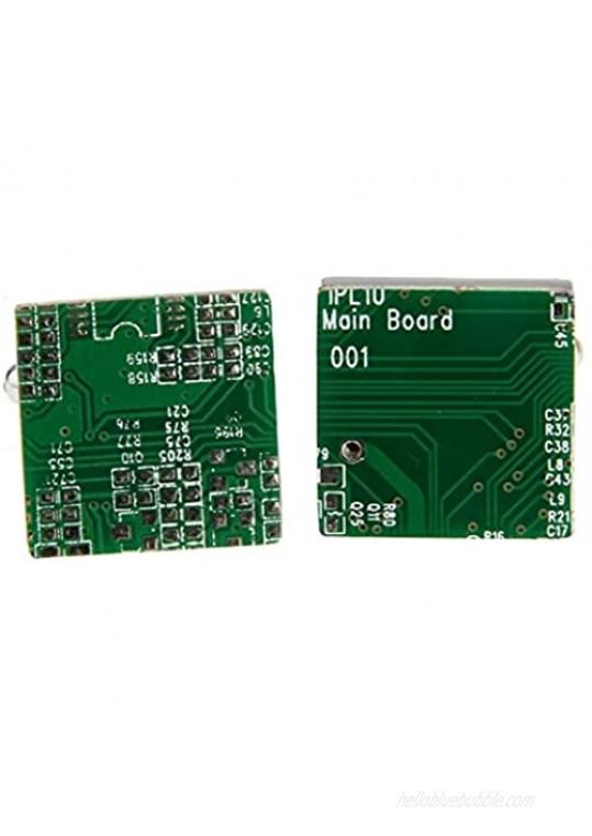 MRCUFF PC Motherboard Computer Chip Circuit Board Pair Cufflinks Presentation Gift Box & Polishing Cloth
