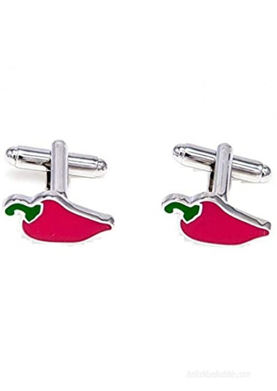 MRCUFF Spicy Chili Red Hot Pepper Chef Cook Pair Cufflinks in a Presentation Gift Box & Polishing Cloth